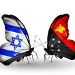 Two butterflies with flags on wings as symbol of relations Israel and Papua New Guinea — Stock Photo