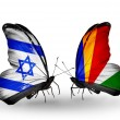 Two butterflies with flags on wings as symbol of relations Israel and Seychelles — Stock Photo