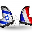 Two butterflies with flags on wings as symbol of relations Israel and France — Stock Photo