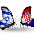 Stock Photo: Two butterflies with flags on wings as symbol of relations Israel and Croatia