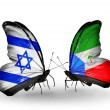 Two butterflies with flags on wings as symbol of relations Israel and Equatorial Guinea — Stock Photo