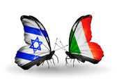Two butterflies with flags on wings as symbol of relations Israel and Ireland — Stock Photo