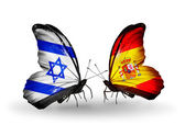 Two butterflies with flags on wings as symbol of relations Israel and Spain — Stock Photo