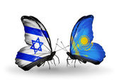 Two butterflies with flags on wings as symbol of relations Israel and Kazakhstan — Stock Photo