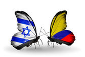Two butterflies with flags on wings as symbol of relations Israel and Columbia — Stock Photo