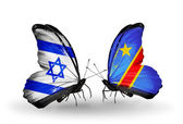 Two butterflies with flags on wings as symbol of relations Israel and Kongo — Stock Photo