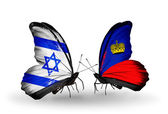 Two butterflies with flags on wings as symbol of relations Israel and Liechtenstein — Stock Photo