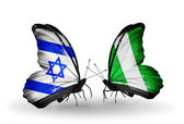 Two butterflies with flags on wings as symbol of relations Israel and Nigeria — Stock Photo