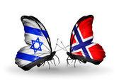 Zwei schmetterlinge mit flaggen am flügel als symbol für beziehungen, israel und norwegen — Stockfoto