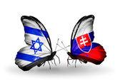 Dva motýli s příznaky na křídlech jako symbol vztahů Izraele a na Slovensku — Stock fotografie