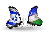 Две бабочки с флагами на крыльях как символ отношений Израиля и Узбекистана — Стоковое фото