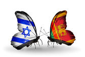 Two butterflies with flags on wings as symbol of relations Israel and Sri Lanka — Стоковое фото