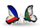 Två fjärilar med flaggor på vingarna som symbol för förbindelserna mellan filippinerna och algeriet — Stockfoto