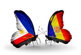 Two butterflies with flags on wings as symbol of relations Philippines and Andorra — Stock Photo