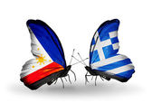 Two butterflies with flags on wings as symbol of relations Philippines and Greece — Stock Photo