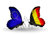 Two butterflies with flags on wings as symbol of relations EU and Belgium — Stock Photo