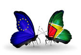 Two butterflies with flags on wings as symbol of relations EU and Guyana — Stock Photo