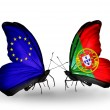 Two butterflies with flags on wings as symbol of relations EU and Portugal — Stok fotoğraf #37918135