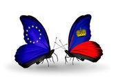Iki kelebek kanatları ilişkiler ab ve liechtenstein sembolü olarak bayrakları ile — Stok fotoğraf