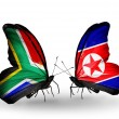Two butterflies with flags on wings as symbol of relations South Africa and North Korea — Stock Photo