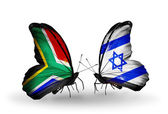 Two butterflies with flags on wings as symbol of relations South Africa and Israel — Stock Photo