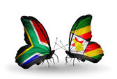 Two butterflies with flags on wings as symbol of relations South Africa and Zimbabwe — Stock Photo