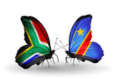 Two butterflies with flags on wings as symbol of relations South Africa and Kongo — Stock Photo