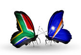 Two butterflies with flags on wings as symbol of relations South Africa and Marshall islands — Stock Photo