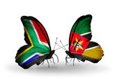 Two butterflies with flags on wings as symbol of relations South Africa and Mozambique — Stock Photo