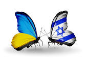 Two butterflies with flags on wings as symbol of relations Ukraine and Israel — Stock Photo