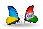 Two butterflies with flags on wings as symbol of relations Ukraine and India — Stock Photo