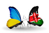 Two butterflies with flags on wings as symbol of relations Ukraine and Kenya — Stock Photo