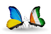 Two butterflies with flags on wings as symbol of relations Ukraine and Cote Divoire — Stock Photo