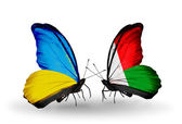 Two butterflies with flags on wings as symbol of relations Ukraine and Madagascar — Stock Photo