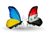 Two butterflies with flags on wings as symbol of relations Ukraine and Syria — Stock Photo