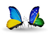 Two butterflies with flags on wings as symbol of relations Ukraine and Solomon Islands — Stock Photo