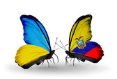 Two butterflies with flags on wings as symbol of relations Ukraine and Ecuador — Stock Photo