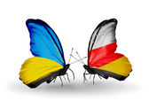 Two butterflies with flags on wings as symbol of relations Ukraine and South Ossetia — Stock Photo