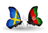 Two butterflies with flags on wings as symbol of relations Sweden and Afghanistan — Stock Photo