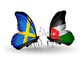 Two butterflies with flags on wings as symbol of relations Sweden and Jordan — Fotografia Stock