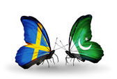 Two butterflies with flags on wings as symbol of relations Sweden and Pakistan — Photo