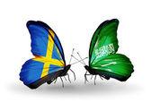 Due farfalle con bandiere sulle ali come simbolo delle relazioni Svezia e arabia saudita — Foto Stock