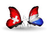 Two butterflies with flags of Switzerland and Luxembourg on wings — Stock Photo