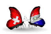 Two butterflies with flags of Switzerland and Paraguay on wings — Stock Photo
