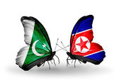 Two butterflies with flags of Pakistan and North Korea on wings — Stock Photo