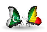 Two butterflies with flags of Pakistan and Kongo on wings — Stock Photo