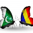 Stock Photo: Two butterflies with flags of Pakistand Chad, Romanion wings