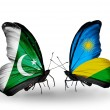 Stock Photo: Two butterflies with flags of Pakistand Rwandon wings