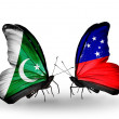 Stock Photo: Two butterflies with flags of Pakistand Samoon wings