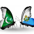 Stock Photo: Two butterflies with flags of Pakistand SMarino on wings